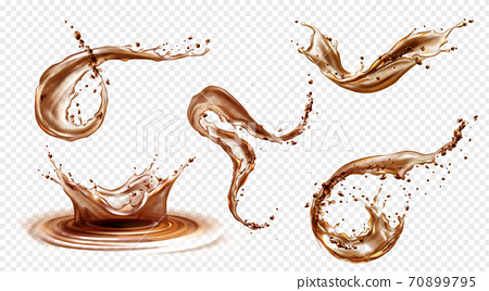 Vector realistic splashes of coffee, cola or whiskey 70899795