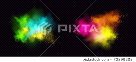 Explosions of color powder, paint dust with particles 70899808