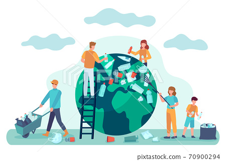 Earth cleaning. People clean world from garbage. Save planet ecology concept. Environmental protection from pollution vector illustration 70900294