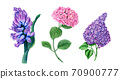 Vintage floral collection of Hyacinth, Hydrangea and Lilac  70900777