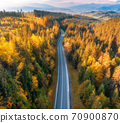Aerial view of mountain road in forest at sunset in autumn 70900870