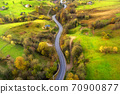 Aerial view of beautiful winding road in green hills 70900877