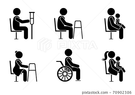 Stick figure bus sign man with crutches, people with walkers, parents with baby on knees vector icon illustration set. Give seat symbol good manners etiquette priority access silhouette pictogram 70902386