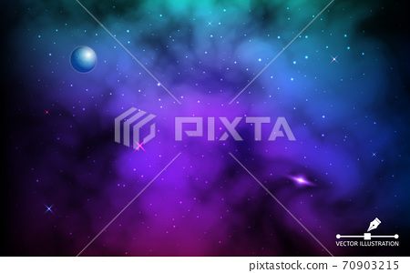 Cosmos backdrop. Colorful galaxy with planet and shining stars. Space background with milky way and stardust. Realistic cosmos with earth and nebula. Infinite universe. Vector illustration 70903215