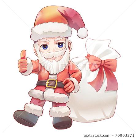 수채화 풍의 산타 클로스 일러스트 70903271