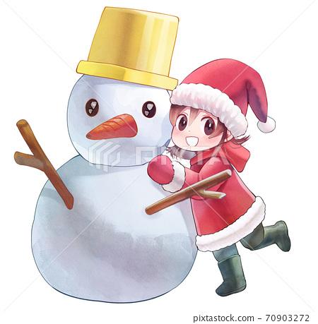 수채화 풍 소녀와 눈사람 일러스트 70903272