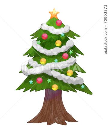 수채화 풍 크리스마스 트리 일러스트 70903273