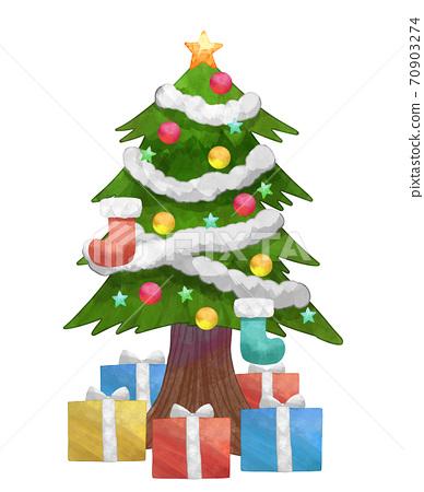 수채화 풍 크리스마스 트리와 선물 상자 일러스트 70903274