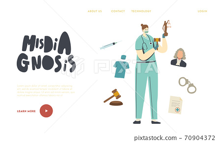 Misdiagnosis, Improperly Prescribed Treatment, Malpractice Landing Page Template. Nurse or Doctor with Themis Statue 70904372