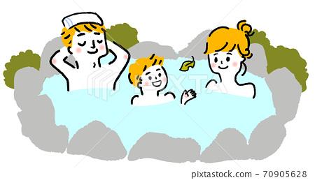 父母和孩子進入溫泉的插圖 70905628