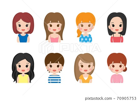 各式各样的女人跟女孩,可爱的微笑,面部表情,卡通漫画插图组合 70905753