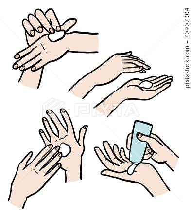 塗抹護手霜的手的插圖素材 70907004