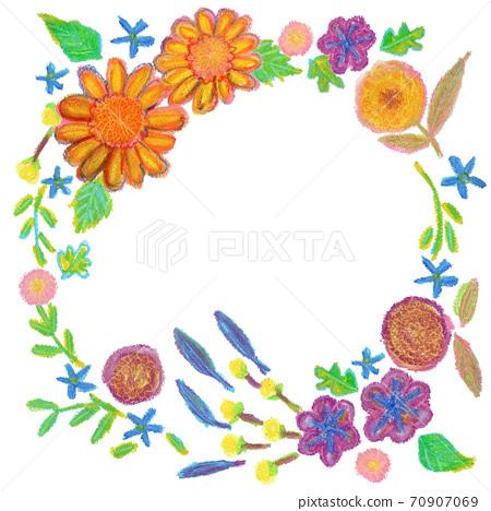 가을 꽃 크레용 일러스트 임대 70907069