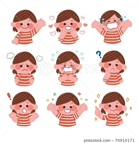 有各種面部表情的孩子 70910171