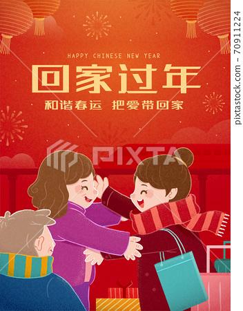 Chinese new year travel rush 70911224