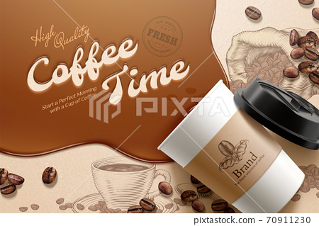 Coffee ad on engraved background 70911230