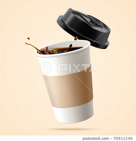 Black coffee in disposable cup 70911240