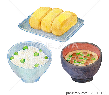 水彩插圖食品日式早餐 70913179