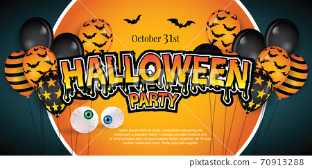 happy halloween party banner with balloons decoration. Illustrator Vector Eps 10 70913288