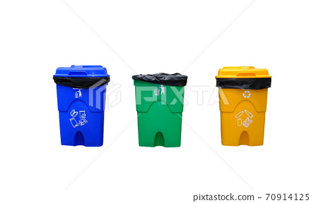 Blue, green and yellow recycle bins isolated on white background. 70914125
