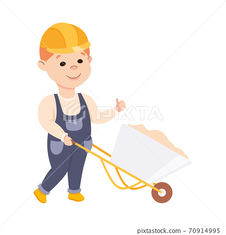 Cute Builder Pushing Wheelbarrow Full of Sand, Little Boy in Hard Hat and Blue Overalls with Construction Tools Cartoon Style Vector Illustration 70914995