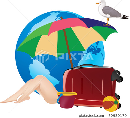 beach vacation landscape with bather and travel 70920170