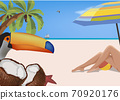 beach vacation landscape with bather and travel 70920176