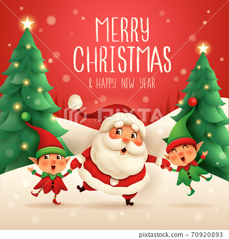 Merry Christmas! Santa Claus and Little Elves holding hands. 70920893