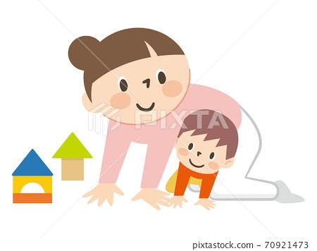 母親和孩子一起玩 70921473