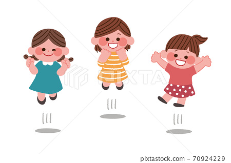 점프하는 소녀들 70924229