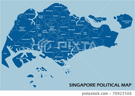 Singapore political map divide by state colorful outline simplicity style. 70925508