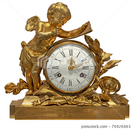 Old vintage gilded table clock with an angel 70926863