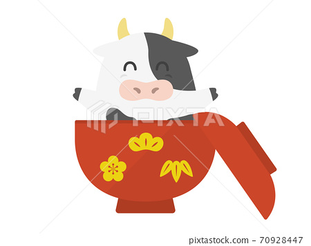 Illustration of a cow character in a bowl 70928447