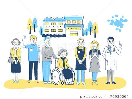 요양 시설 휠체어 할머니와 개호 직원 70930064