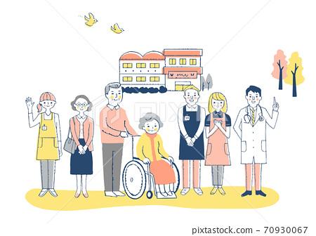 Nursing facility Wheelchair grandmother and nursing staff 70930067