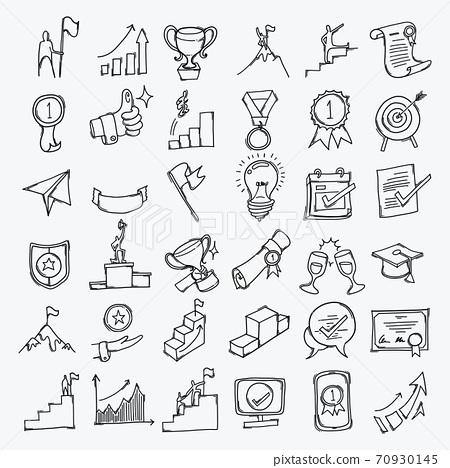 Achievement hand drawn icon illustration line art doodle eps10 70930145