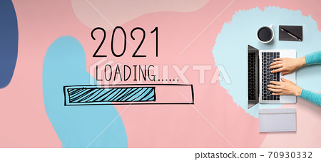 Loading new year 2021 with person using laptop 70930332