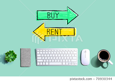 Buy or rent concept with a computer keyboard 70930344