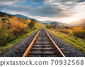 Railroad in mountains at sunset in autumn 70932568