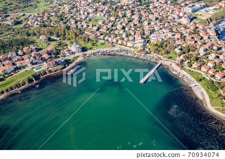 Motor paragliding over Black Sea shores 70934074