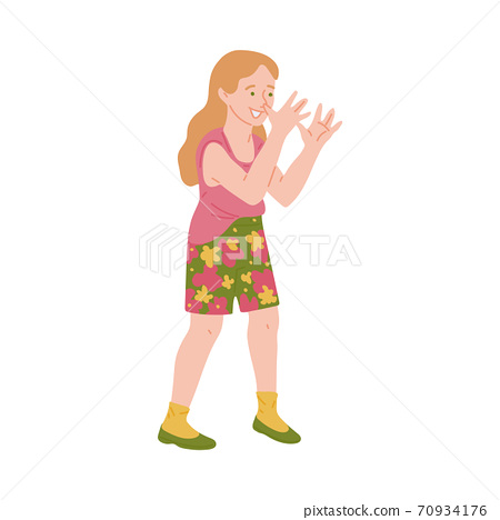Cheeky naughty girl shows bullying gesture, flat vector illustration isolated. 70934176
