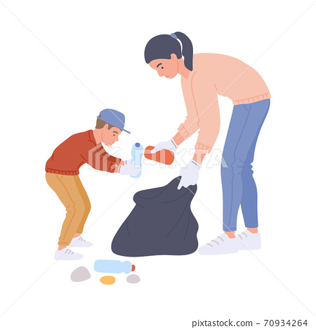 Volunteers mother and child collecting trash flat vector illustration isolated. 70934264