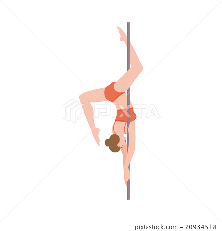 Pole dance of beautiful flexible girl a flat cartoon vector illustration 70934518