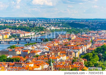 Prague skyline with Vltava bridges 70934595