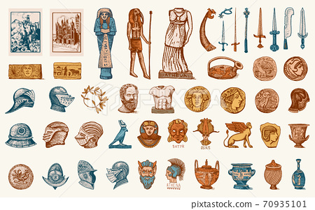 Antique elements. Knightly weapons and armor. Egyptian vases, mummy and sarcophagus. Ancient Statues 70935101