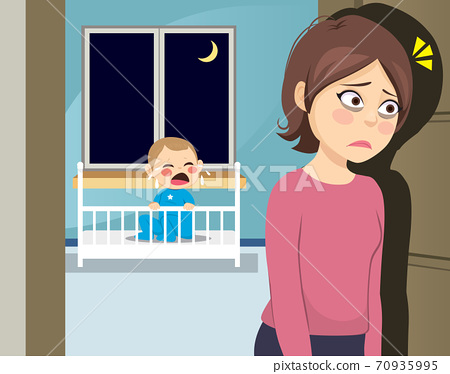 Sleepless young tired mom at night with baby crying on crib 70935995