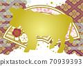 新年賀卡牛肉日式長崎葡萄酒和黃金 70939393