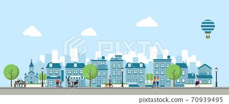 나란히 빌딩 · 건물 · 집 (풍경 · 거리) 배너 일러스트 / 사람들의 일상 생활 70939495
