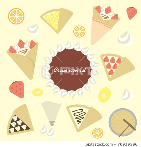 Various crepe sweets color illustration set 70939596