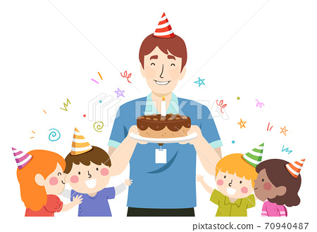 Kids Teacher Guy Birthday Party Cake Illustration 70940487